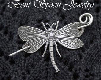 Dragonfly Shawl Pin,  Oxidized Silver or Brass Dragonfly Shawl Pin ...Scarf Pin