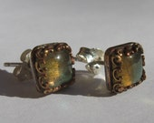 Sterling Silver and Brass Stud Earrings with Square Labradorite Stones