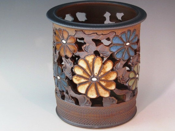 Luminaire Vase With Flowers, Cutouts, And Swirl Design With Texturing