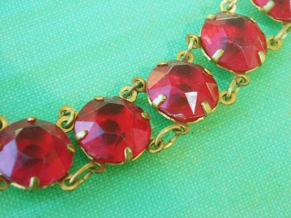 Art Deco Bracelet 1930s Red Stones