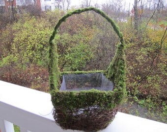 Moss and Twig Flower Girl Basket / Planter