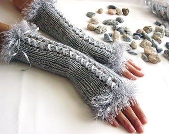 LIGHT GRAY Fingerless Gloves,  Wool Women Mittens, Arm Warmers with satin ribbon, Hand Knitted, eco friendly
