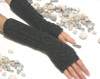 Hand Knit Charcoal GRAY LONG Fingerless Gloves with a cable pattern