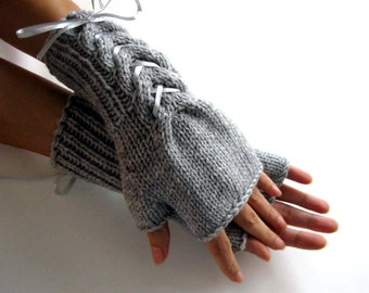 GRAY  Fingerless Gloves, Wool Mittens, Arm Warmers with gray satin ribbon, Hand Knitted, Eco Friendly