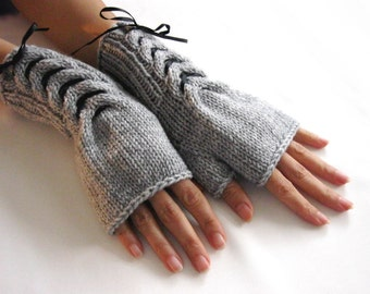 GRAY  Fingerless Gloves, Wool Mittens, Arm Warmers with black satin ribbon, Hand Knitted, Eco Friendly