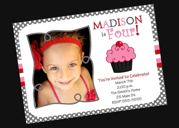 Girls Birthday Invitation Cupcake with Photo (Printable )Digital File