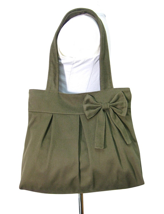 olive cotton fabric purse with bow / canvas tote bag / shoulder bag / hand bag / diaper bag - zipper inside pocket