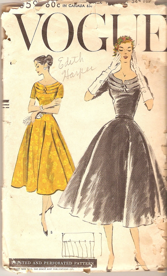 1950s Vogue Dress Pattern Cocktail Dress bust 34 Vogue 9059 complete Vintage Pattern