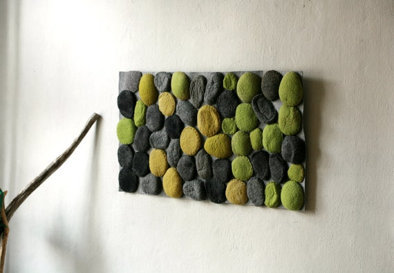 Felted rug with green and grey stones