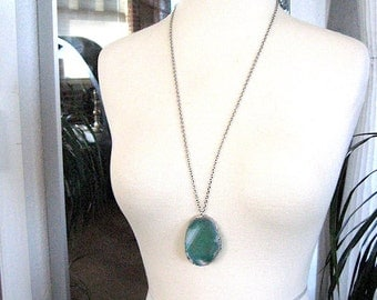 Green Agate Slice Necklace - Chain - Agate Pendant Necklace 10 - long druzy agate geode necklace READY TO SHIP
