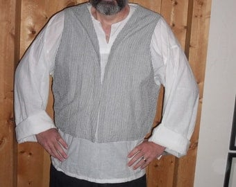 Gray and white pin striped vest in Egyptian cotton