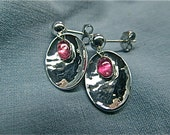 silver pink tourmaline earrings