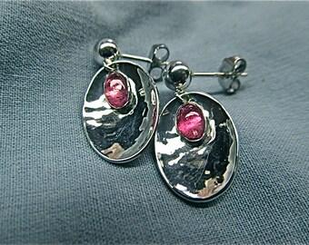 silver pink tourmaline earrings