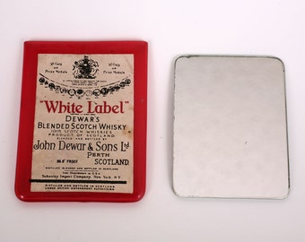 "Vintage Dewar's Whisky Advertising Pocket Mirror in Vinyl Case, Dewar's Blended Socth Whisky ""White Label"""