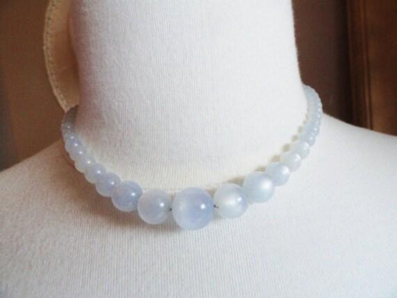 Pale Periwinkle Blue Moonglow Vintage Necklace