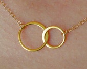 Forever Linked Together Small Circles Pendant Necklace in Gold, wedding, bridesmaid gift, entwined, interlocking circles