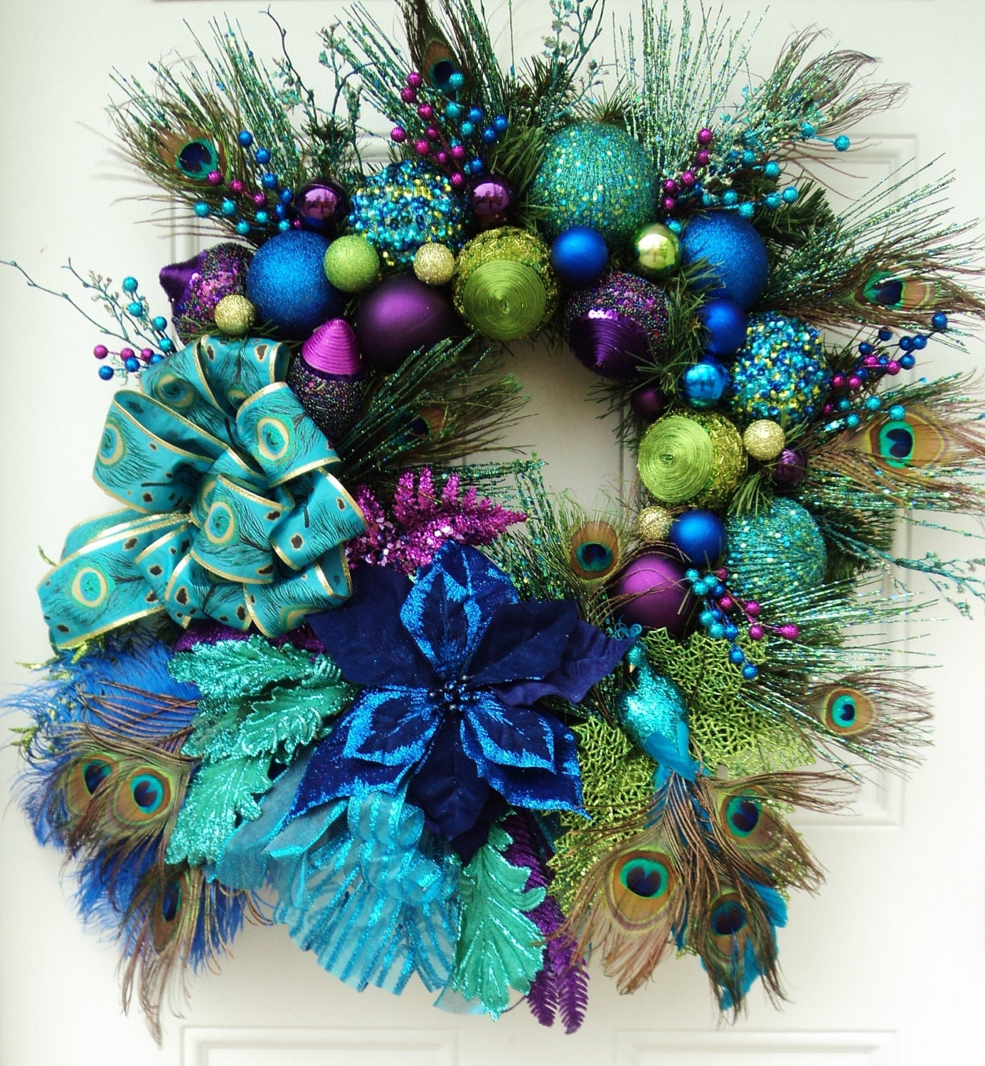 Christmas Peacock Wreath Xxl Reserved Jhl