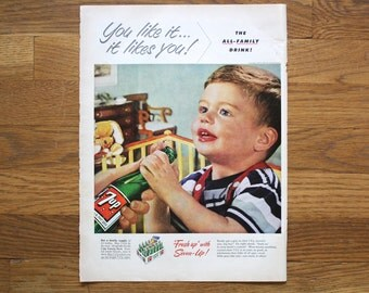 Vintage 7up Ad Life Magazine June 23, 1952