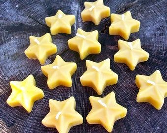 Beeswax Candles -Floating Stars - 12 pack