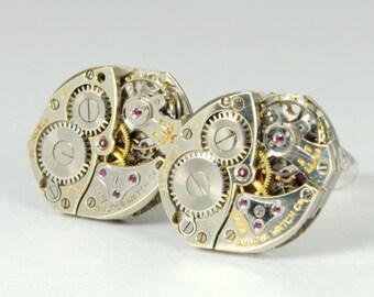 BULOVA Steampunk Cuff Links Mens SOLDERED Steampunk Vintage Watch Cufflinks Silver Steampunk Wedding Jewelry by Victorian Curiosities