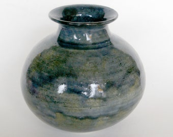 Fat Grey Blue Vase - Discounted