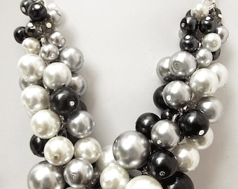 Chunky Beaded Necklace, Pearl Statement Necklace, Black, White & Silver Swarovski Pearls, Oversized Necklace