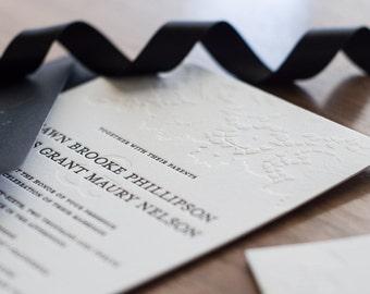 Black & White Letterpress Wedding Invitation Suite