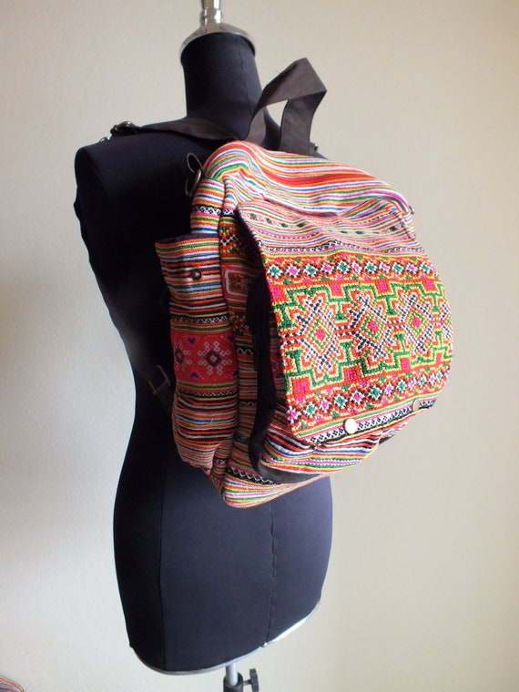 Hmong Ethnic handmade bag vintage fabric-Handbags-thailand-backpack-rucksack