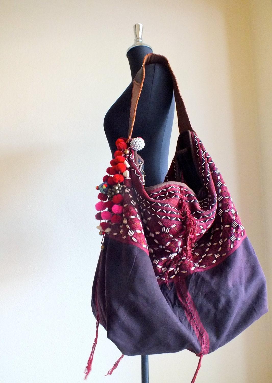 Hmong Ethnic Handmade Bag Vintage Fabric Bohemian Bags Tote