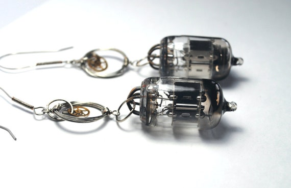 Steampunk Vacuum Tube Wire Wrapped Circle Earrings