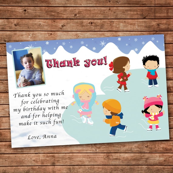 Personalized Any Wording Thank you Card Ice Skating Winter – Thank You Cards Birthday Wording