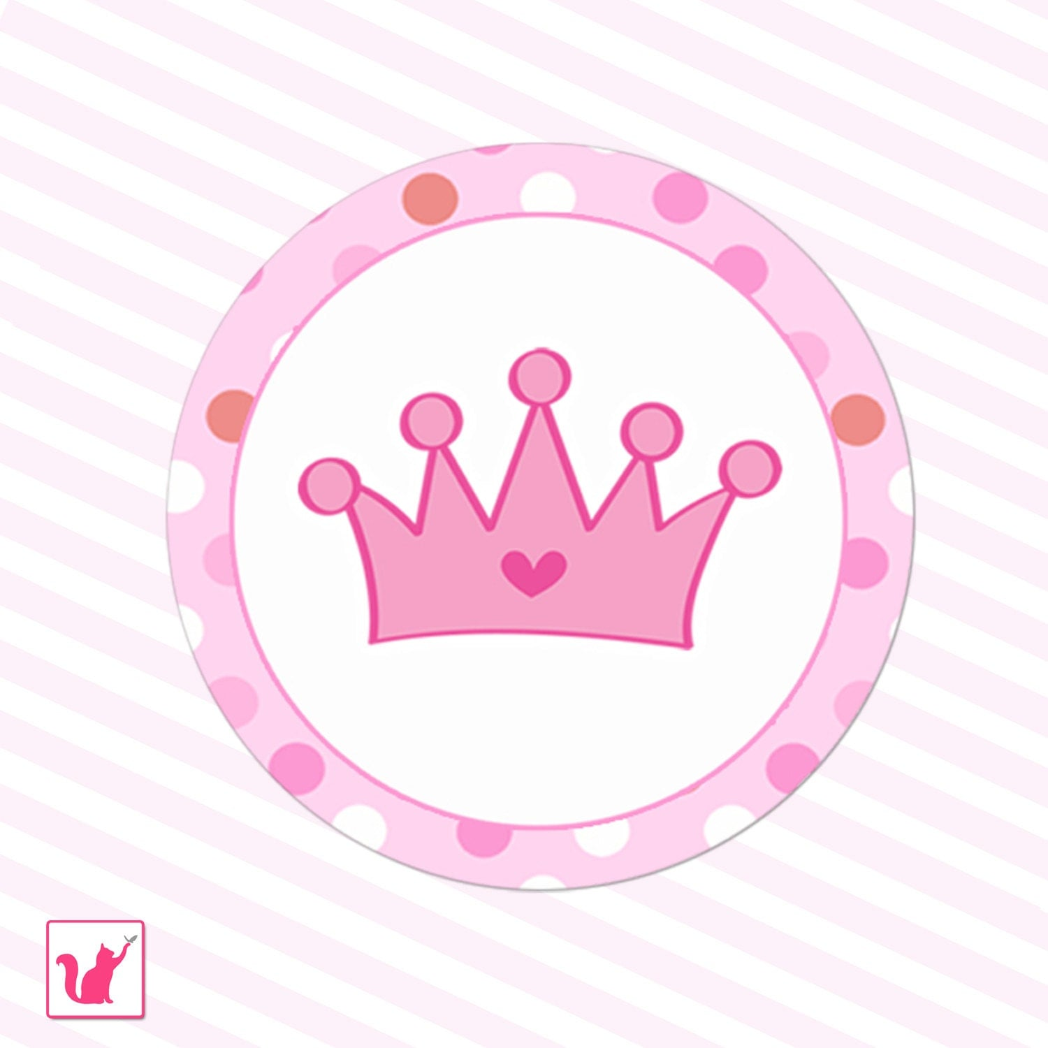 Printable Pink Hot Pink Princess Crown Tags Polka Dots