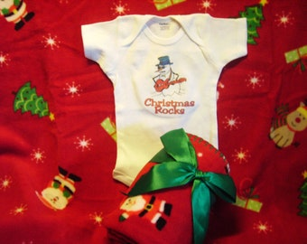 Christmas  onesie  with coordinating  blanket  A perfect gift for a holiday baby Ask for other designs while supplies last
