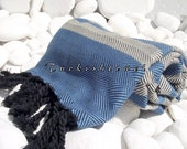 Turkishtowel-Soft-Highest Quality,Pure Organic Cotton,Hand Woven,,Beach,Spa,Yoga,Travel Towel or Sarong-Blue,Cream and  Black tassels