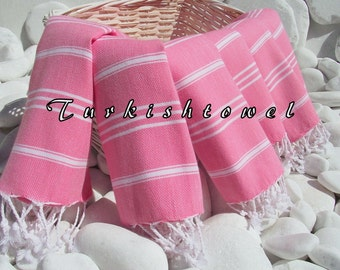 Turkishtowel-Set of 6-High Quality,Pure Cotton,Hand,Hair,Head,Tea,Dish,Baby,Travel Towel or Unisex Neck Warmer-White Stripes on Rose Pink