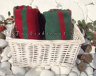 Christmas Colors-Turkishtowel-Soft-Highest Quality,Pure Organic Cotton,Hand Woven,Bath Towel or Sarong-Red,Green,Black