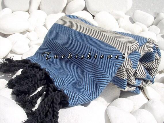 Turkishtowel-Soft-Highest Quality,Pure Organic Cotton,Hand Woven,,Beach,Spa,Yoga,Travel Towel or Sarong-Blue,Cream and  Black tassels