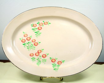 Vintage Serving Platter - Hand Painted in Japan with Red Flowers