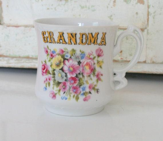Vintage GRANDMA MUG.....pink. flowers. coffee. tea. drink. retro kitchen. gift for her. novelty. flower garden. classic