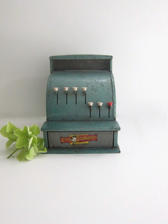 Vintage Little Storekeeper Toy Cash Register in Green