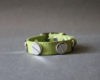 French Stud Leather Bracelet-Medium Size (APPLE GREEN)