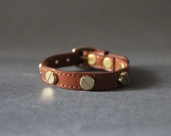 French Stud Leather Bracelet(CALF Color Leather)