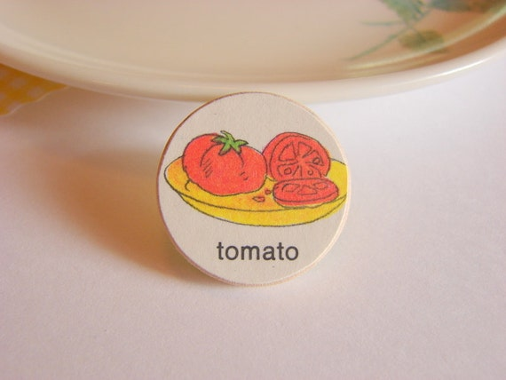 Tomato Tie Tack or Lapel Pin - Small Paper and Wood Decoupage - Retro Food Vegetable - One of a Kind