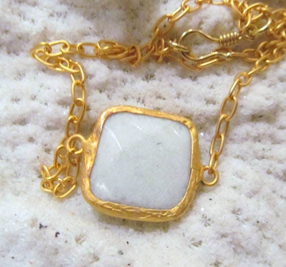 CLEARANCE White Agate Pendant wrapped in gold