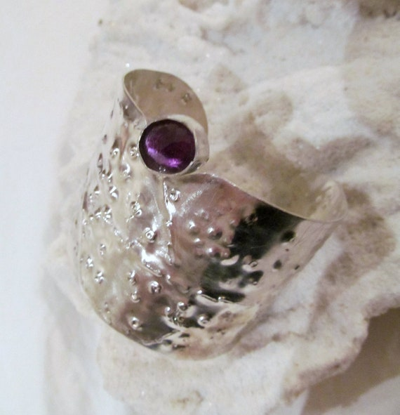 Hammered and Beaten sterling silver cuff Featuring a Purple amethyst