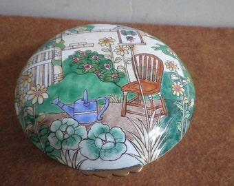 Enamel Gardener Trinket Box