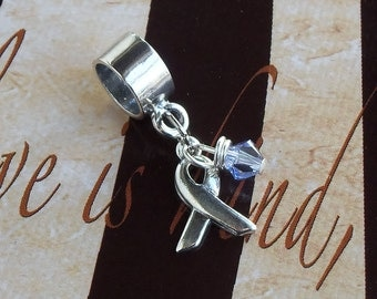 Sterling Silver Rett Syndrome, Hodgkin's Disease, Cancer Awareness Charm Bead, European Style