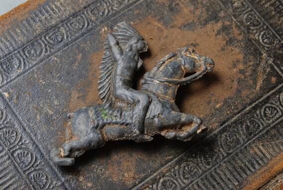 Vintage lead toy, figurine of Indian horseman