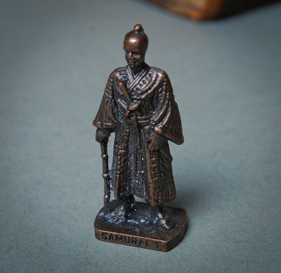 Vintage metal Kinder Surprise soldier  figurine, toy. Miniature Samurai statuette.