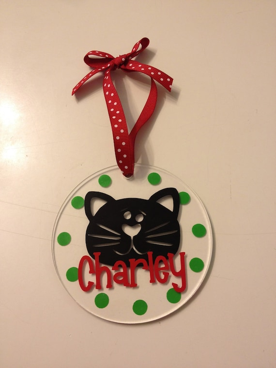"Personalized Cat Christmas Ornament - 4"" round clear acrylic, with name, Any colors, Any pet, Cat, Dog, other animal, pet"